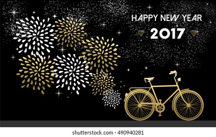 Happy New Year 2017, gold card design with bike and fireworks in night sky background.