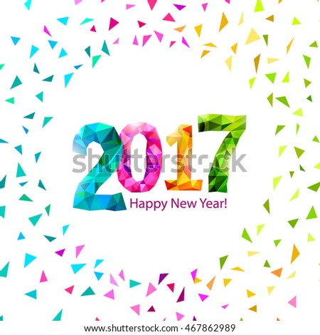 Happy New Year 2017 Greeting Card Stock Illustration 467862989 ...