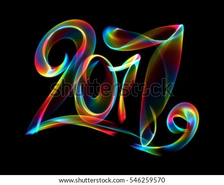 Happy new year 2017 isolated numbers lettering written with rainbow colorful fire flame or smoke on black background.