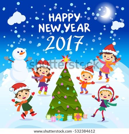 happy new year 2017 kids background happy child with happy new year 2017 colorful