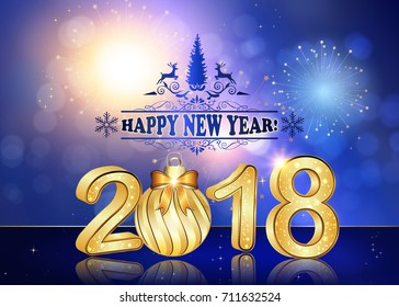 happy new year 2018 background greeting card with brightly colorful fireworks and colorful lights