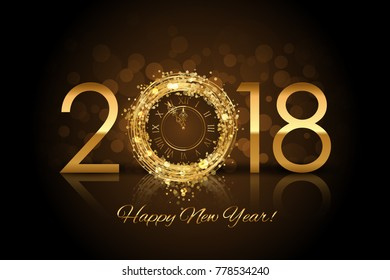 Happy New Year 2018 - New Year background with gold clock