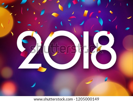 happy new year 2018 background decoration greeting card design template 2018 confetti illustration of