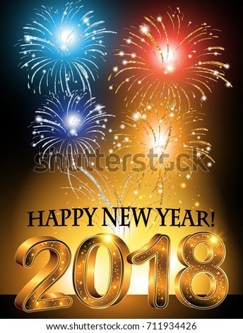 happy new year 2018 background with fireworks a4 format