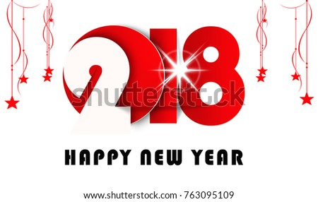 happy new year 2018 banner with christmas stars in white background