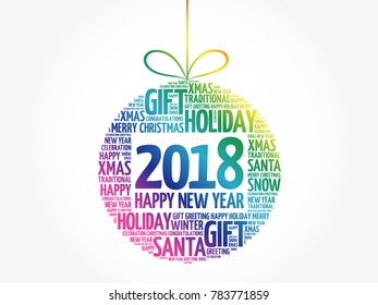 Happy New Year 2018, Christmas ball word cloud, holidays lettering collage