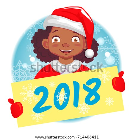 happy new year 2018 christmas greeting african american girl holds christmas card