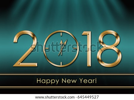 happy new year 2018 new year clock