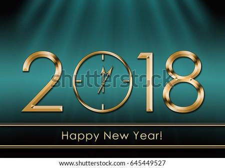 happy new year 2018 new year clock