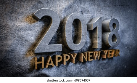 Happy new year 2018 concept in 3d