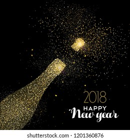Happy New Year 2018 Gold Champagne Stock Vector Royalty Free