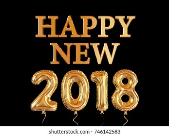 Happy new year 2018. Gold balloon text isolated on black background