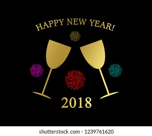 HAPPY NEW YEAR 2018 with golden Champagne Glasses and colorful Fireworks as decorative Background Illustration.