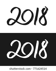 Happy New Year 2018 greeting card template. Hand drawn calligraphic number 2018 with rough contour on black and white backgrounds for Chinese Year of the Dog.