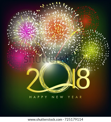 happy new year 2018 greeting card with fireworks and flowers background