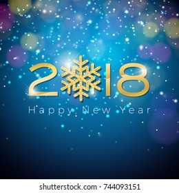 Happy New Year 2018 Illustration on Shiny Lighting Blue Background with Typography. JPG version.