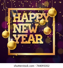 Happy New Year 2018 Illustration with Shiny Golden Typography Design and Ornamental Balls on Confetti Background. JPG version.