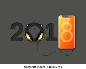 happy new year 2018 phone headphones smartphone banner greeting card telephone design template 2018