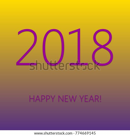 Happy New Year 2018 Purple Fonts Stock Illustration