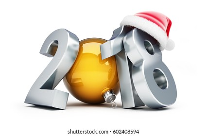 Happy new year 2018 santa hat on a white background 3D illustration