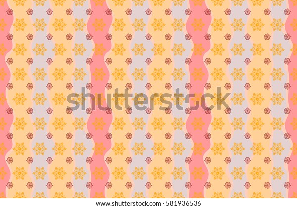 Happy New Year 2018 winter background. Raster design for textile, wallpaper, fabric, wrapping paper. Yellow and red and wave simple seamless Christmas pattern - varied Xmas snowflakes with dots.