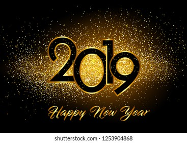 Happy New Year 2019 background with decorated  glitters background