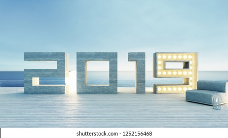 Happy New Year 2019 Beach Lounge for vacation and holiday sea view / 3D render interior