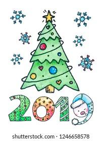 Happy new year 2019 card, postcard, feliz ano nuevo, christmas tree, snowflakes, pig, piggy, star, watercolor illustration, Greeting watercolor illustration, winter, holiday, celebration, gift idea