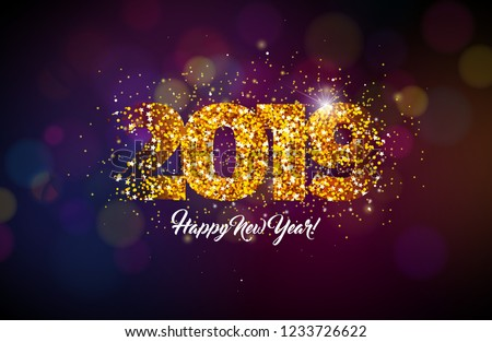 Happy New Year 2019 Christmas Hd Stock Illustration 1233726622