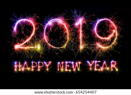 Happy New Year : Happy new year 2019 colorful sparkle stockillustration 654254407