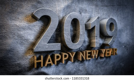 Happy new year 2019 concept in 3d
