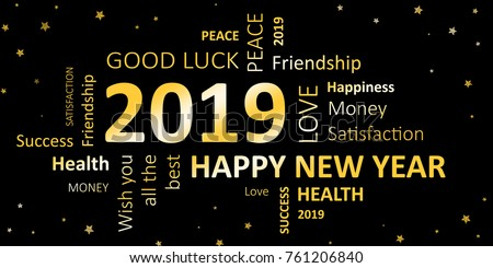 happy new year 2019 greeting card illustration de stock de 761206840