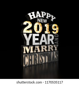 Happy new year 2019. Holiday background with 3d typography card. 3d render illustration