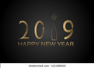 Happy New Year - 2019. Lettering and bottle of champagne in golden colors.