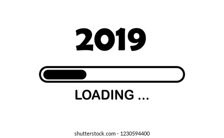 Happy new year 2019 with loading icon neon style. Progress bar almost reaching new year's eve. illustration with 2019 loading. Isolated or white background.