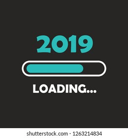 Happy new year 2019 with loading icon neon style. Progress bar almost reaching new year's eve. illustration with 2019 loading. Isolated or dark gray black background.