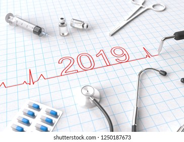 Happy New Year 2019 with medical equipment. 3D illustration