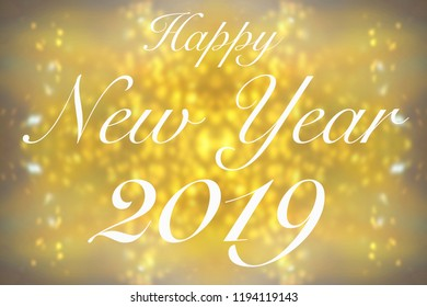 Happy New Year 2019 on golden glitter background