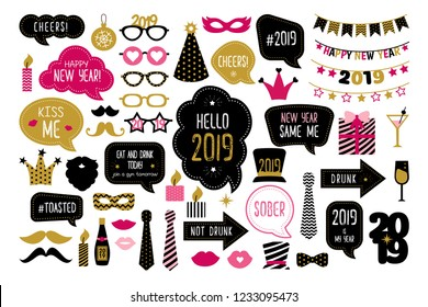 Happy new year 2019 photo booth props. New year party. Christmas and new year funny quotes on speech bubbles. Photobooth set lips, crown, glasses, hat, mustache. Isolated on white backdround.