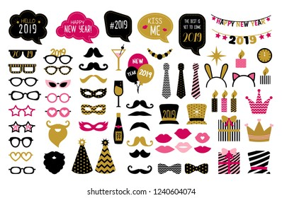 Happy new year 2019 photo booth props. New year eve party.  Photobooth   set for masquerade. Black and gold mask, mustache, hat, glasses, bow tie, kiss, beard.