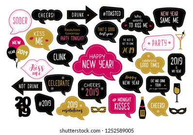 Happy new year 2019 photo booth props. New year eve party. Photobooth  set for masquerade. Christmas and new year funny quotes on speech bubbles. Cheers, celebrate, kiss me, drunk.