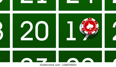 Happy New Year 2019 poker chips background. Greeting card Roulette Game & chips flyer. greencloth casino of date 2018 year view from above banner. Celebrate poker casino brochure