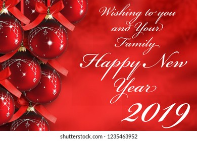 Happy New Year 2019 with red ornament balls background