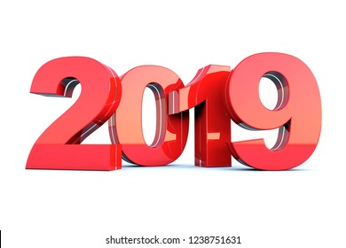 Happy New Year 2019 red glossy calendar background 3D render