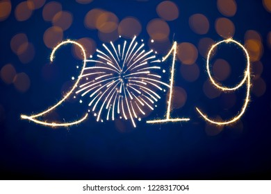 Happy New Year 2019 with Sparklers