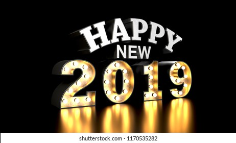 Happy new year 2019. 2019 text holiday. 3d typography. 3d render illustration