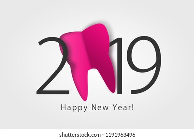 happy new year 2019. 2019 with tooth sign