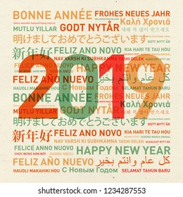 Happy new year 2019 vintage card from the world in different languages