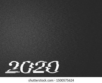 happy new year 2020 3D render in glitch style. futuristic distortion  for banner poster greeting card and flyer.