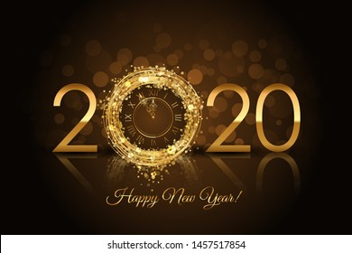 Happy New Year 2020 - New Year background with gold clock